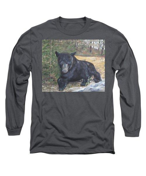 Black Bear - Wildlife Art -scruffy Long Sleeve T-Shirt