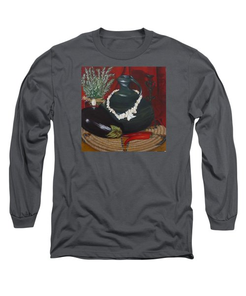 Long Sleeve T-Shirt featuring the painting Black Bottle by Helen Syron
