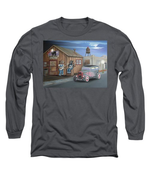 Black Cat Juke Joint Long Sleeve T-Shirt by Stuart Swartz