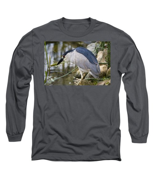 Long Sleeve T-Shirt featuring the photograph Black-crown Heron Going Fishing by David Millenheft