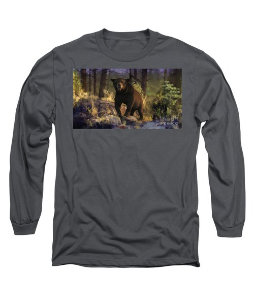 Long Sleeve T-Shirt featuring the painting Black Max by Rob Corsetti