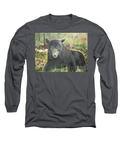 Long Sleeve T-Shirt featuring the painting Blackberry Scruffy 2 by Jan Dappen