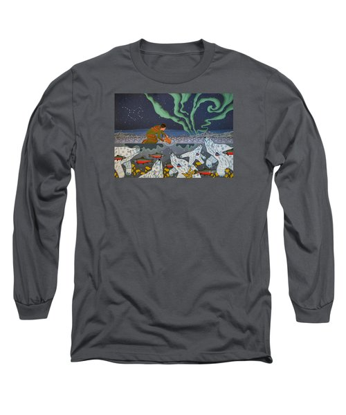 Long Sleeve T-Shirt featuring the painting Blessing Of The Polar Bears by Chholing Taha