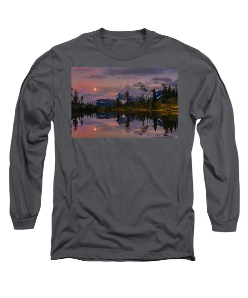 Bloodmoon Rise Over Picture Lake Long Sleeve T-Shirt