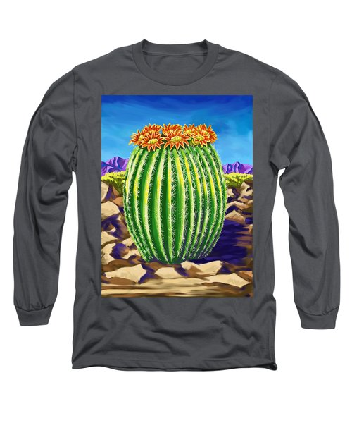 Long Sleeve T-Shirt featuring the painting Blooming Barrel Cactus by Tim Gilliland