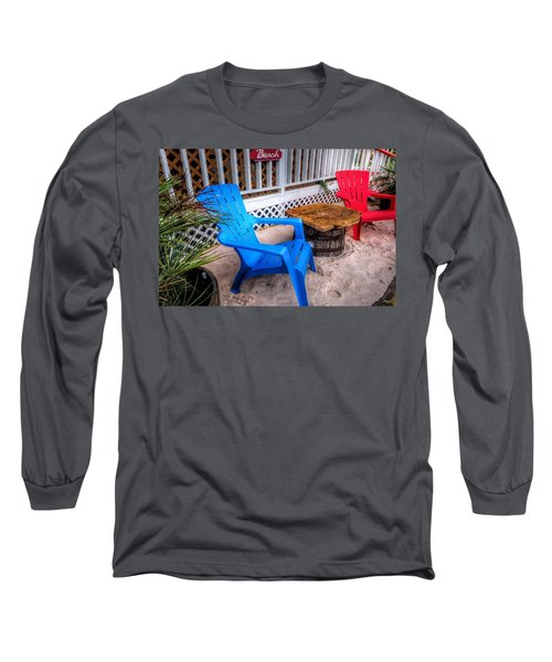 Long Sleeve T-Shirt featuring the digital art Blue And Red Chairs by Michael Thomas
