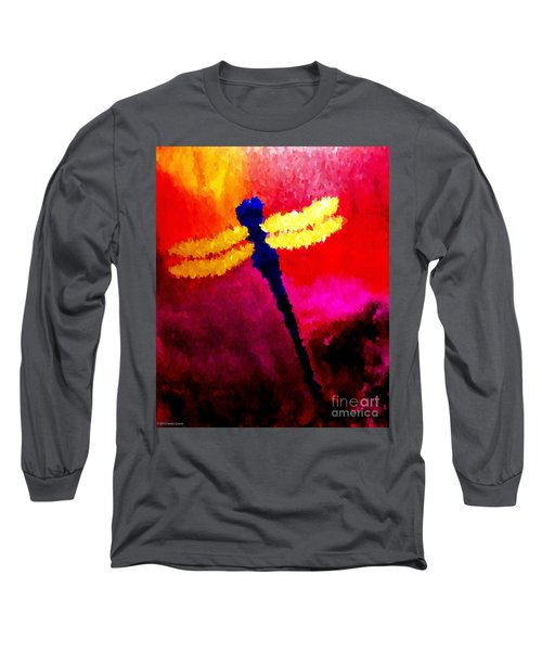 Long Sleeve T-Shirt featuring the painting Blue Dragonfly No 2 by Anita Lewis