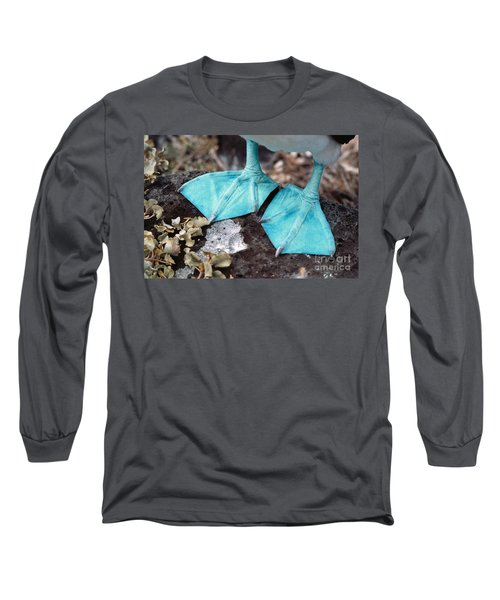 Blue-footed Booby Feet Long Sleeve T-Shirt by Ron Sanford