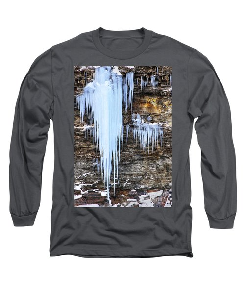 Blue Frozen Icicle Stalactites Long Sleeve T-Shirt