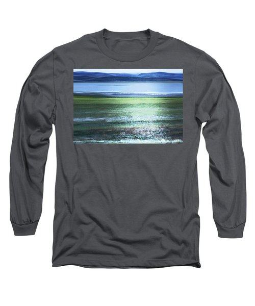 Blue Green Landscape Long Sleeve T-Shirt by Belinda Greb
