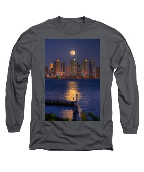 Blue Heron Moon Long Sleeve T-Shirt