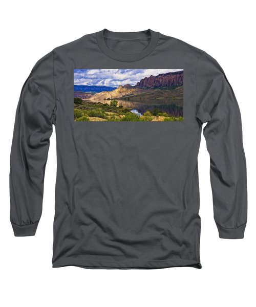 Blue Mesa Reservoir Digital Painting Long Sleeve T-Shirt by Priscilla Burgers