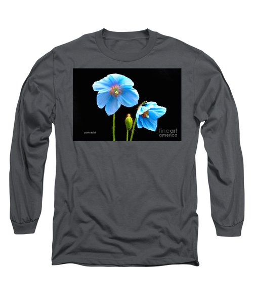Long Sleeve T-Shirt featuring the photograph Blue Poppy Flowers # 4 by Jeannie Rhode