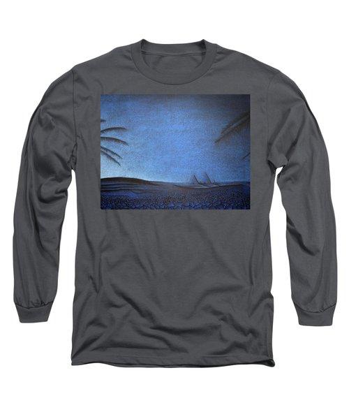 Long Sleeve T-Shirt featuring the drawing Blue Pyramid by Mayhem Mediums