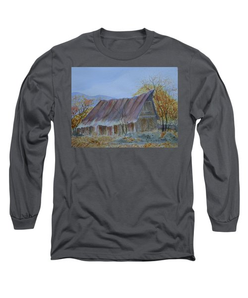 Long Sleeve T-Shirt featuring the painting Blue Ridge Barn by Joel Deutsch