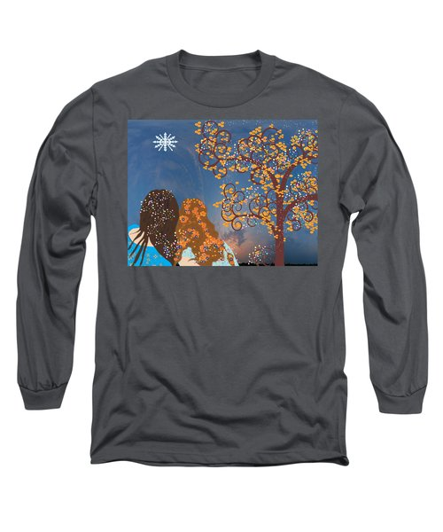 Long Sleeve T-Shirt featuring the digital art Blue Swirl Girls 2 by Kim Prowse