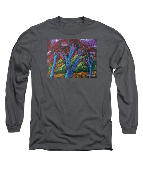 Long Sleeve T-Shirt featuring the pastel Central Park Blue Tempo by Elizabeth Fontaine-Barr
