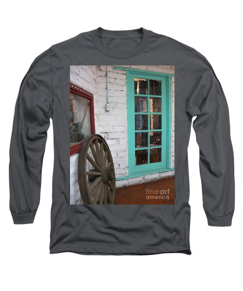 Long Sleeve T-Shirt featuring the photograph Blue Window And Wagon Wheel by Dora Sofia Caputo Photographic Art and Design
