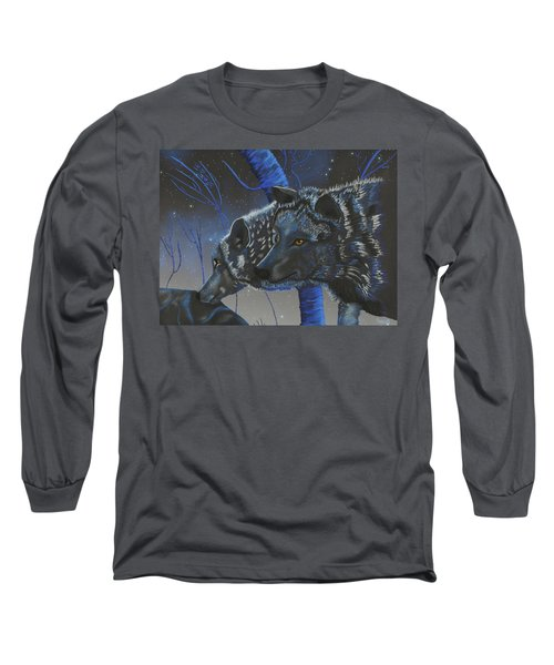 Blue Wolves With Stars Long Sleeve T-Shirt