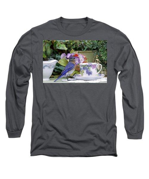 Bluebird And Tea Cups Long Sleeve T-Shirt by Luana K Perez
