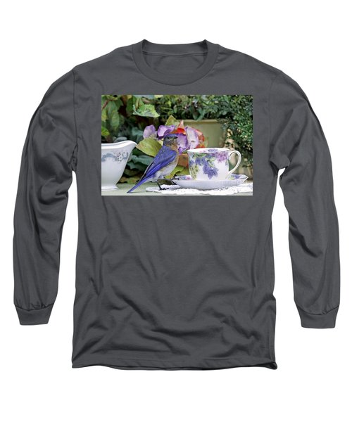 Bluebird And Tea Cups Long Sleeve T-Shirt