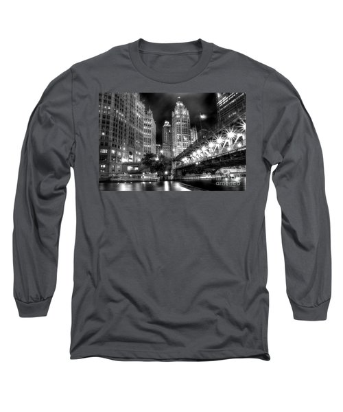 Boat Along The Chicago River Long Sleeve T-Shirt