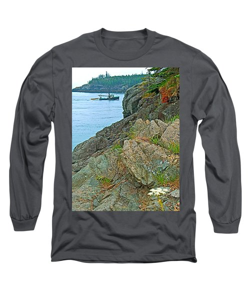 Boat By East Quoddy Bay On Campobello Island-nb Long Sleeve T-Shirt
