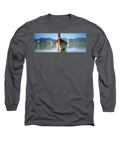 Boat Moored In The Water, Phi Phi Long Sleeve T-Shirt