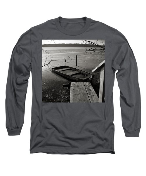 Boat In Ice - Lake Wingra - Madison - Wi Long Sleeve T-Shirt
