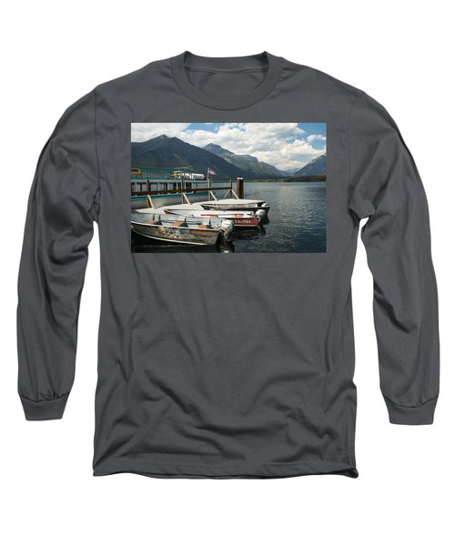 Boats On Lake Mcdonald Long Sleeve T-Shirt