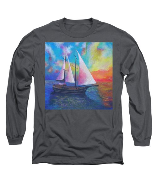 Long Sleeve T-Shirt featuring the painting Bodrum Gulet Cruise by Tracey Harrington-Simpson