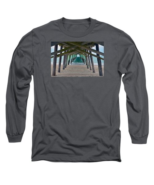 Bogue Banks Fishing Pier Long Sleeve T-Shirt by Sandi OReilly