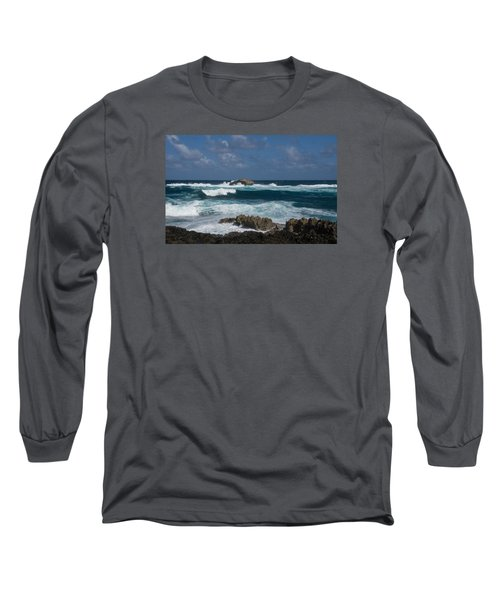 Boiling The Ocean At Laie Point - North Shore - Oahu - Hawaii Long Sleeve T-Shirt by Georgia Mizuleva