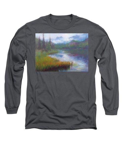 Bonnie Lake - Alaska Misty Landscape Long Sleeve T-Shirt
