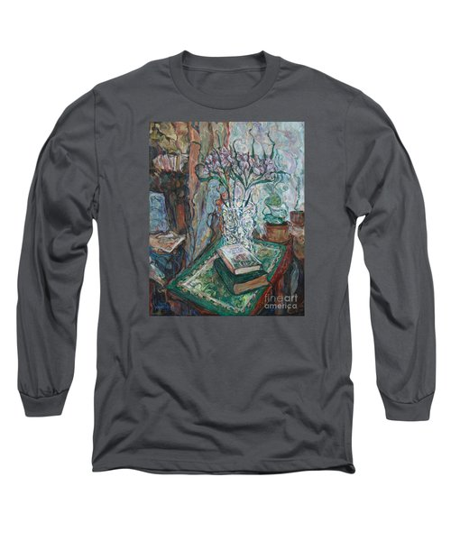 Books And Flowers Long Sleeve T-Shirt by Anna Yurasovsky