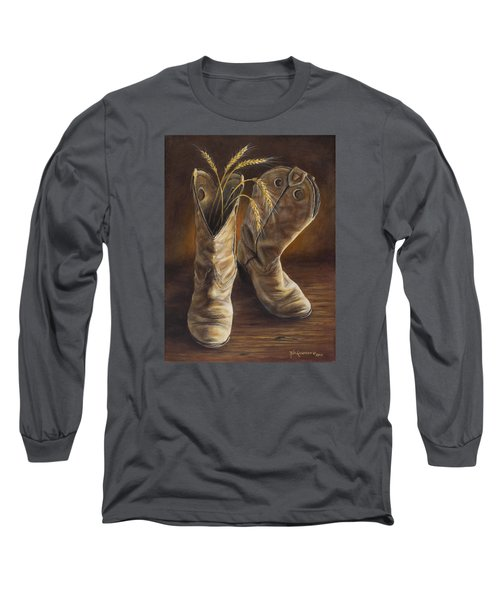 Long Sleeve T-Shirt featuring the painting Boots And Wheat by Kim Lockman