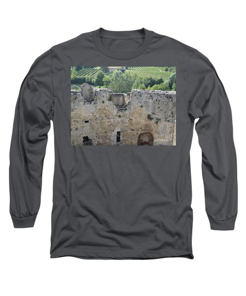 Long Sleeve T-Shirt featuring the photograph Bordeaux Castle Ruins With Vineyard by HEVi FineArt