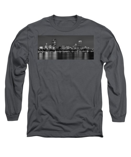 Boston Back Bay Skyline At Night Black And White Bw Panorama Long Sleeve T-Shirt by Jon Holiday