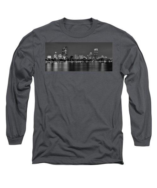 Boston Back Bay Skyline At Night Black And White Bw Panorama Long Sleeve T-Shirt