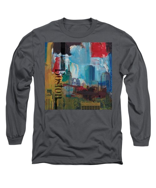 Boston City Collage 3 Long Sleeve T-Shirt by Corporate Art Task Force