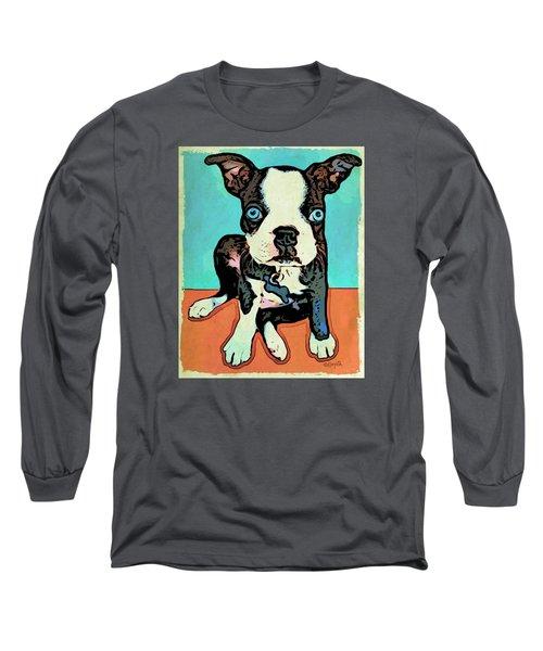 Boston Terrier - Blue Long Sleeve T-Shirt by Rebecca Korpita