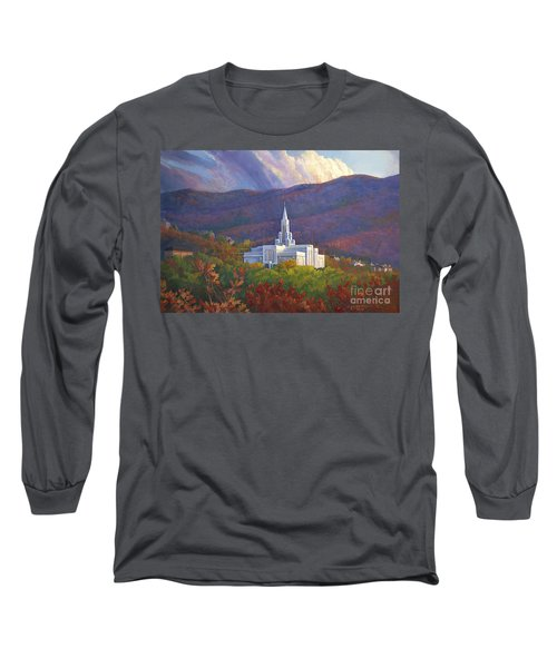 Bountiful Temple In The Mountains Long Sleeve T-Shirt by Rob Corsetti