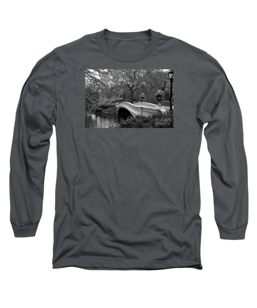 Bow Bridge Nyc In Black And White Long Sleeve T-Shirt by Christiane Schulze Art And Photography