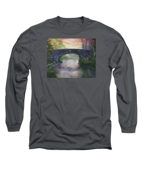 Long Sleeve T-Shirt featuring the painting Bridge 91 At Fradley Canal Staffordshire Uk by Jean Walker
