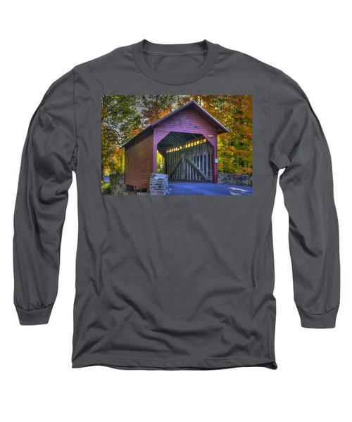 Long Sleeve T-Shirt featuring the photograph Bridge To The Past Roddy Road Covered Bridge-a1 Autumn Frederick County Maryland by Michael Mazaika