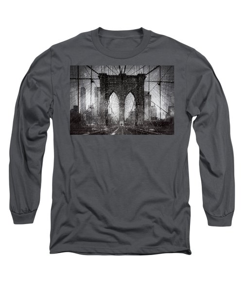Brooklyn Bridge Snow Day Long Sleeve T-Shirt by Chris Lord