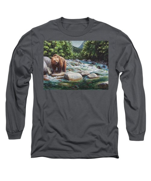 Brown Bear On The Little Susitna River Long Sleeve T-Shirt by Karen Whitworth