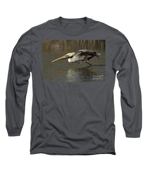 Long Sleeve T-Shirt featuring the photograph Brown Pelican Fishing Photo by Meg Rousher