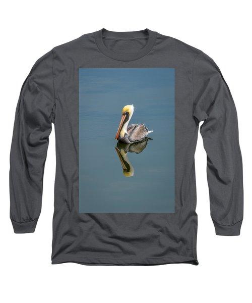Brown Pelican Reflection Long Sleeve T-Shirt by Debra Martz
