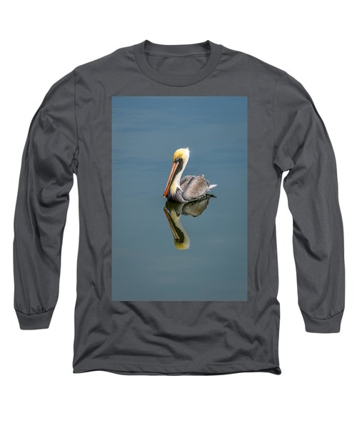 Brown Pelican Reflection Long Sleeve T-Shirt